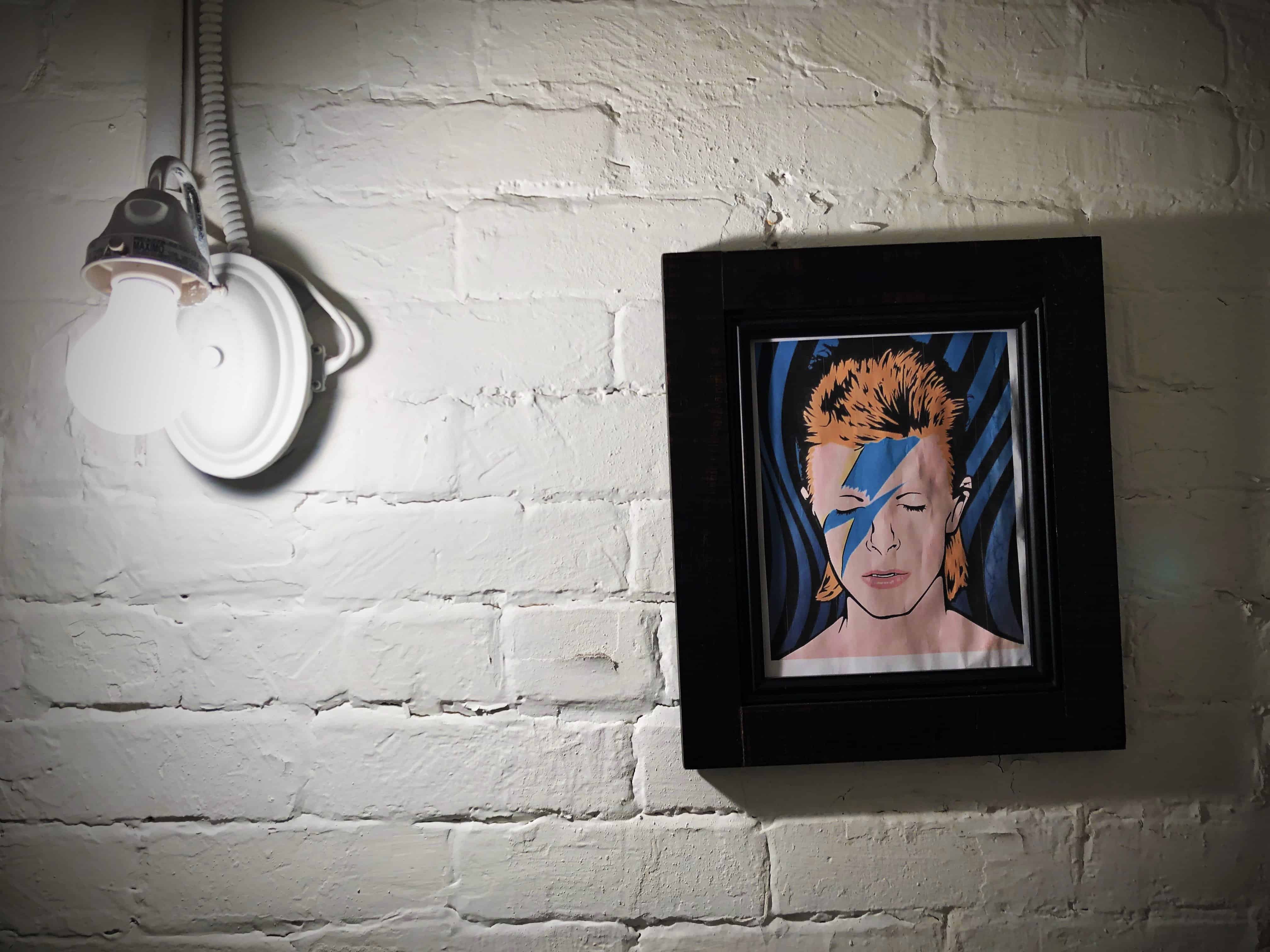 Bowie Image in Bathroom